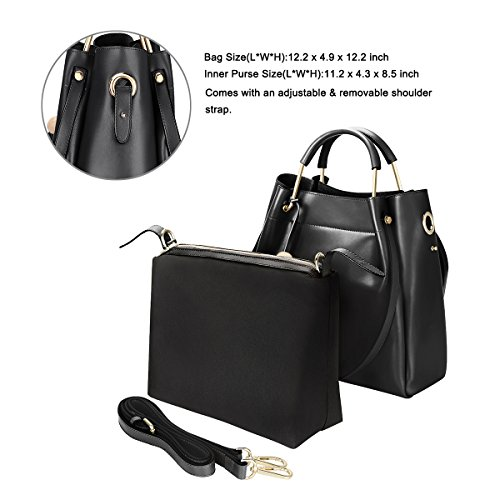 Black handles Genuine Women Bag Leather Shoulder Strap S Red ZONE Handbag 3 Tote Bags Long Top Shoulder Wine Way with wqI4cH0