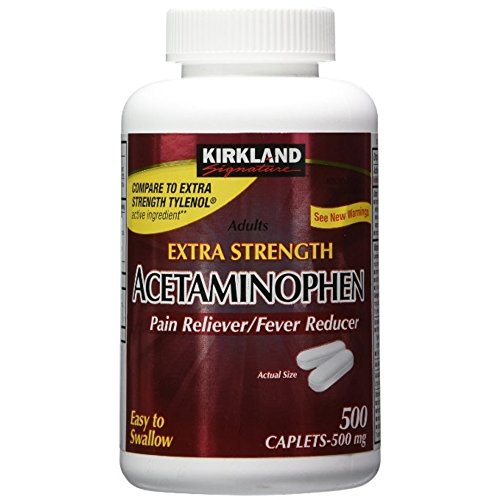 Kirkland Signature Extra Strength Acetaminophen 500MG Caplets, 500-Count Bottle (Pack of 3)