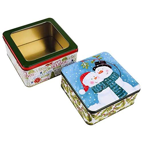 Christmas Cookie Tins With Lids For Gift Giving Empty Candy Treats Ginger Snaps Swap Containers Snack Exchange Boxes Cerebrate a Holiday Goodie Party Favors Set of 2 Have a cup of cheer Square Shape