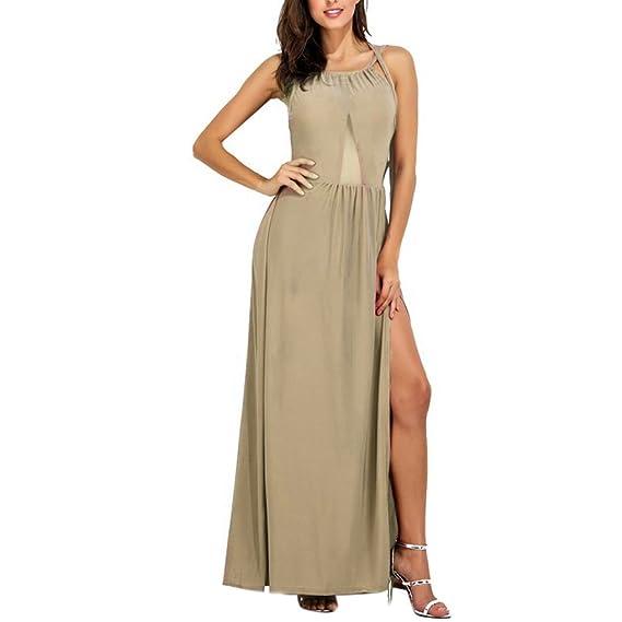 Vestito Lungo Donna Estivo Elegante Abito con Spacco Laterale Maxi Skater  Dress Linea Ad A Abiti 829ee21e258
