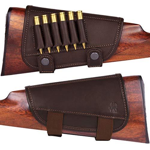 BRONZEDOG Waterproof Genuine Leather Ammo Holder Neoprene Padded Buttstock Cheek Rest Adjustable Shotgun Stock Cover Hunting Accessories .30-30 .308 Caliber or 12 Gauge (Brown 7.62 Cal) (Marlin 30 30 Stock)