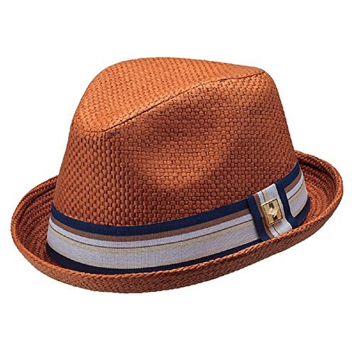 "Large/X-Large Rust ""Depp"" Stingy Brim Fedora w/ Striped G..."
