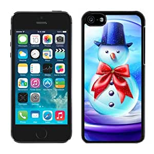 Iphone 5C Case,Blue Hat Snowman With Red Bowknot Iphone 5C Black Case,Apple 5C Cover Case