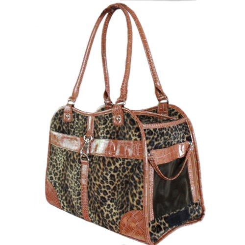 Anima Leopard Print Carrier with Faux Crocodile Trim and Strap, Beige, My Pet Supplies