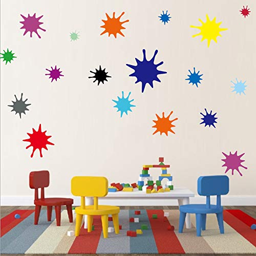 Kids Wall Decals Primary Color Paint Splash Room Decor Wall Art Colorful Nursery Wall Decor Stickers 38 Drops (Best Paint For Nursery Walls)