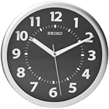Seiko Wall Clock Silver-Tone Metallic Case Luminous Arabic Numerals