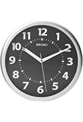 Seiko Wall Clock Silver-Tone Metallic Case Luminous  Numerals