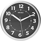 Seiko Reloj de pared tono plateado carcasa metálica luminoso números arábigos