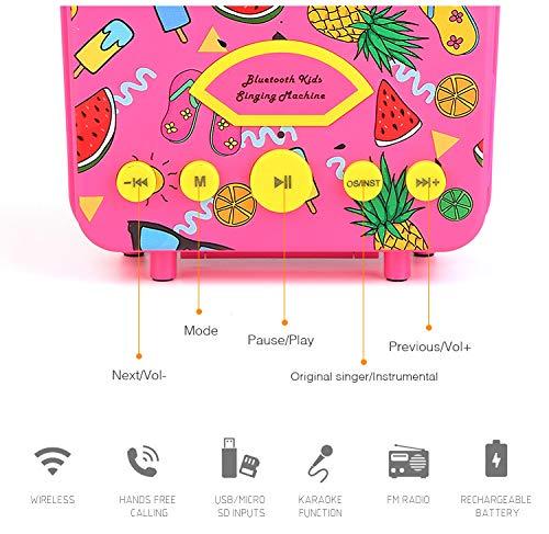 LUCKYBIRD Karaoke Machine for Kids (Hot Pink) by LUCKYBIRD (Image #2)