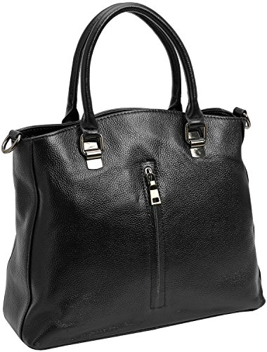 Kenoor Leather Tote Top Handle Handbags Shoulder Bags Satchel for Women on Clearance with Front Pocket (Black) (Handle Handbag Top Purse)