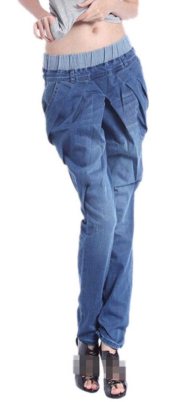 Allbebe Women BF Casual Blue Harem Denim Pants Sweet Straight-Leg Jeans Jegging