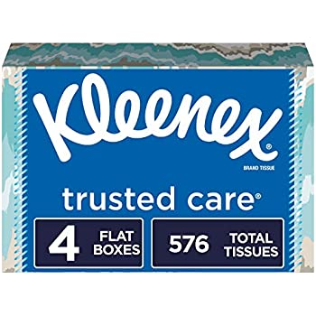 Kleenex Trusted Care Everyday Facial Tissues, Flat Box , 144 Count (Pack of 4)