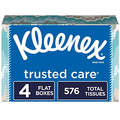 Kleenex Trusted Care Facial Tissues, 4 Flat Boxes, 144 Tissues per Box (576 Tissues Total) ()