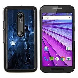 YiPhone /// Prima de resorte delgada de la cubierta del caso de Shell Armor - Art Blue Night City Lights Futurismo Auriculares - Motorola MOTO G3 / Moto G (3nd Generation)