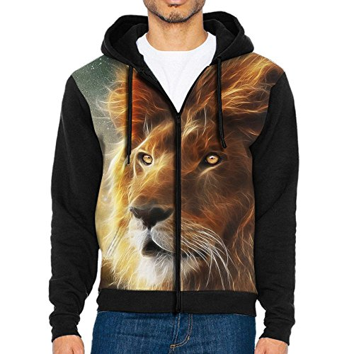 Men's With Hat Hoodies Pullover Pocket Sweater Jacket Lion Face Mane King Of Beasts - King Sun Brewing