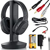Sony Wireless Headphone & Cable Bundle - Wireless Home Theater Over-Ear Headphones Feature 150-Foot Range, Volume Control, Voice Mode, 20-Hr Battery Life - 6-ft 3.5mm Stereo + NeeGo RCA Plug Y-Adapt