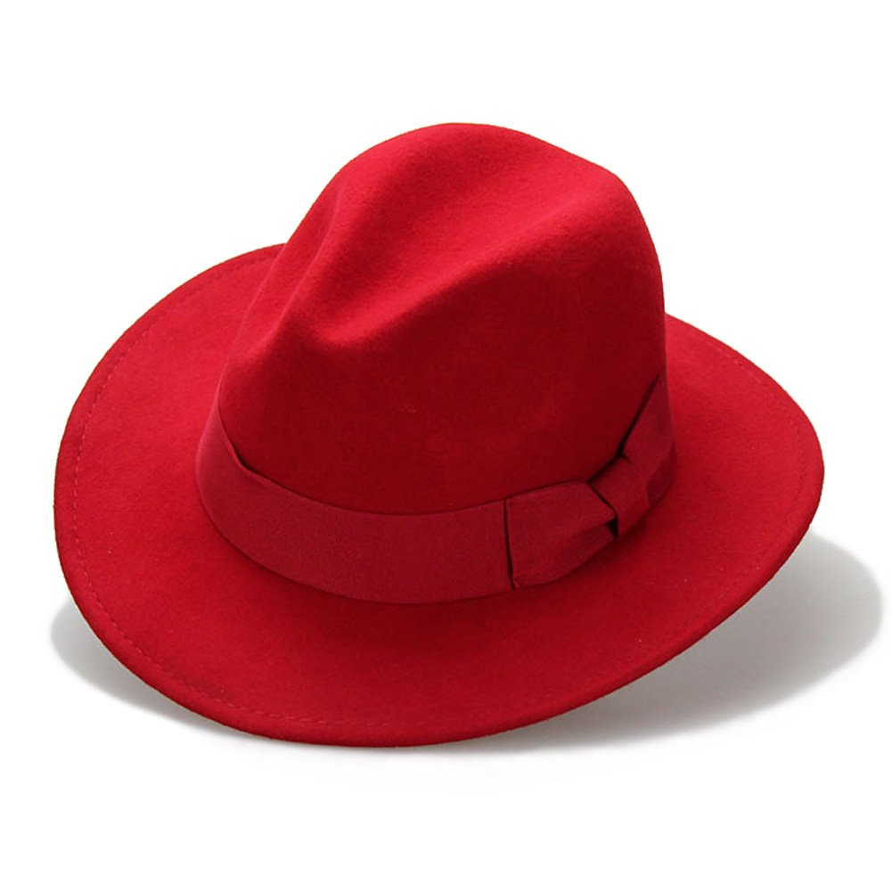 Big bowknot Wide-Brimmed 100% Wool Felt Hat Women's Jazz Cap Cowboy Hat Fedora Hat, Red, Medium