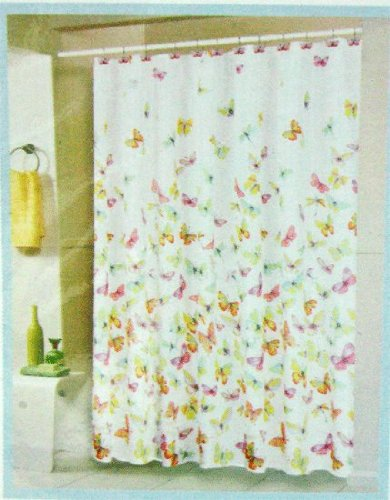 Butterfly Fabric Shower Curtain With Hooks