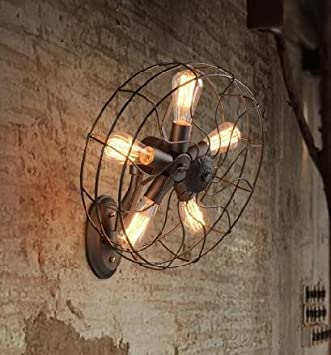 Moderna Lámpara De Pared Para Sala De Estar,Dormitorio,Pasillo Lámpara De Loft País Lámpara De Pared De Hierro Forjado Retro Lámpara De Cabecera Dormitorio Ventilador De Pared Lámpara 45 * 50Cm