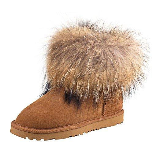Castaña Lana Mujer de Botas Piel de D8751 para Nieve Clásicos con Invierno Zapatos Shenduo Interno 7wqnf6z1f