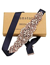 Yanstar Rose Gold Rhinestone Wedding Bridal Belts Navy Sashes Handmade Beads Belt For Bridal Bridesmaid Dresses (rose/navy)