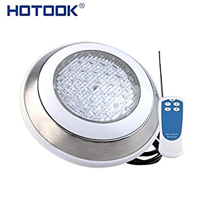 Cold White no Remote, 18W : HOTOOK Underwater Lights RGB Surface Mounted LED Swimming Pool