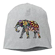 Elephant Artwork Mens Womens Cuff toboggan Knit Beanies Wood Trucker Caps Trendy Unisex Winter Hats Classic For Outdoor,Dance,Hip Hop