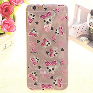 SHOUJIKE Puppy Pattern TPU Relief Thin Transparent All Inclusive Back Cover Case for iPhone 6