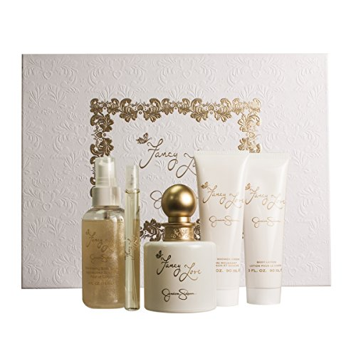 Jessica Simpson Fancy Love Gift Set for Women Eau de Parfum Spray 3.4 Ounce, Lotion 4 Ounce, Lotion 3 Ounce, Bath and Shower Cream, Eau de Parfum Spray 0.34 Ounce