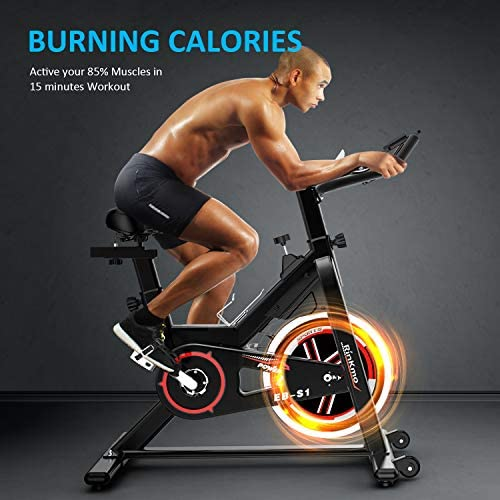 Rinkmo Spin Bike, Stationary Indoor Cycling Bike With Belt Drive, Exercise Bike With 35Lbs Chromed Solid Flywheel, LCD Monitor, Adjustable Seat and Handlebars Reviews