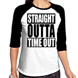 TCC-033 Women Straight Outta Timeout Raglan T-Shirt 3/4-Sleeve Backing Shirt Overclothes