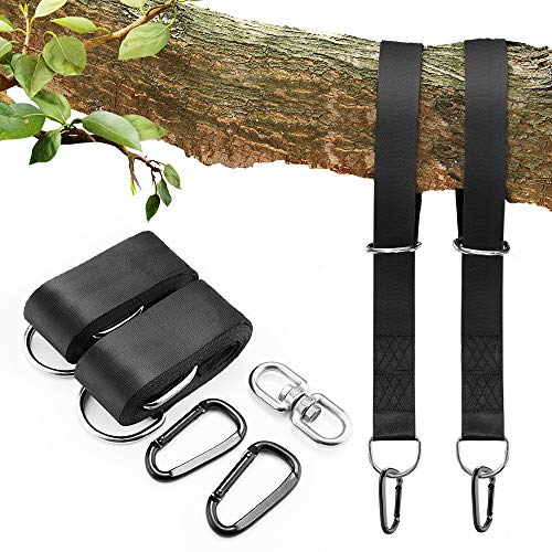 Tree Swing Hanging Kit(Set of 2),GoZheec Tree Swing Straps Holds 2800 LBS Extra Long 10 ft Straps+2 Heavy Duty Carabiners +1 Bonus Spinner for All Kinds of Swings/Hammocks/Mountaineering/Rock (black)