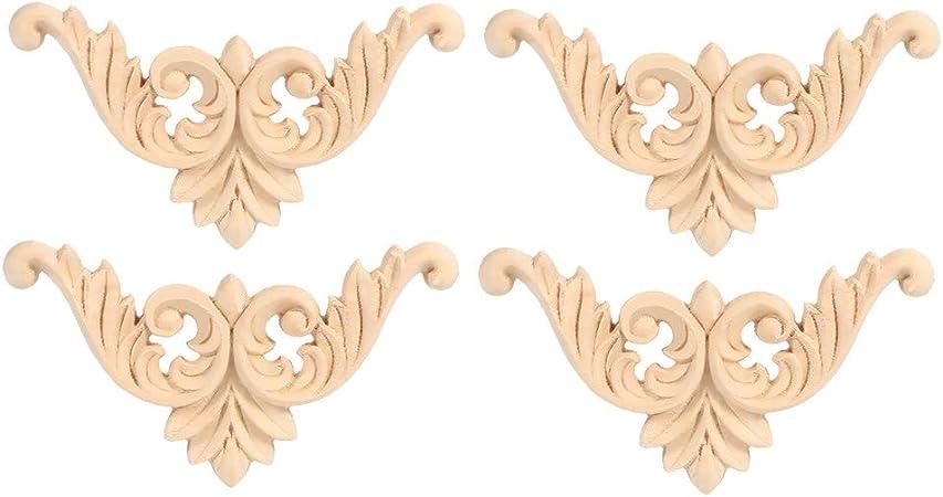 22 * 14CM 1 St/ück Holz Geschnitzte Neue Design Holz Geschnitzte Onlay Applique Unlackiert M/öbel f/ür Haust/ür Schrank Dekoration M/öbel Set