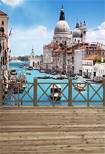 AOFOTO 6x8ft Venice City Landscape Background Basilica Santa Maria Della Salute And Grand Canal Photography Backdrop Italy Trip Lovers Adult Portrait Photoshoot Studio Props Video Drape Wallpaper - Basilica Outdoor Wall