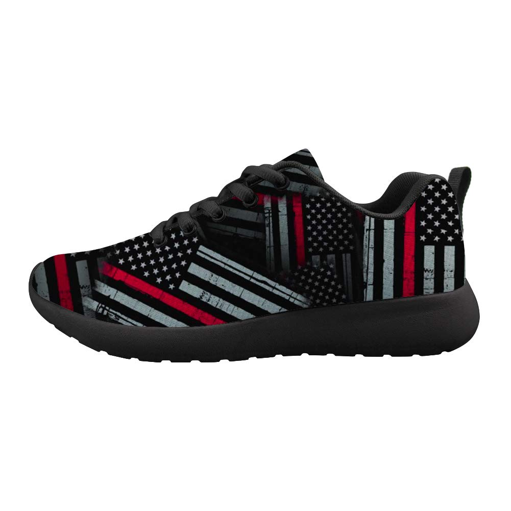 Cushioning Sneaker Trail Running Shoe Mens Womens Thin Red American Flag Patten