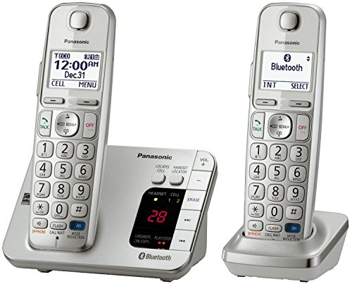 Panasonic KX-TGE262S Link2Cell Bluetooth Enabled Phone with Answering Machine, 2 Cordless Handsets, Silver (Renewed) (Best Business Answering Machine Messages)