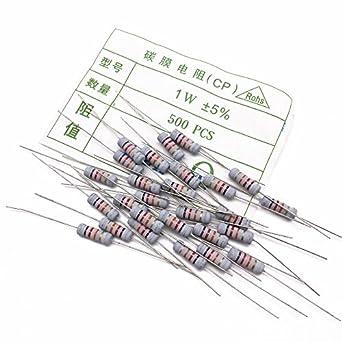 500pcs/pack resistencia 1 W resistencia 68 K resistores de película de carbono/Anillo de color Resistencia película de óxido 5%: Amazon.es: Amazon.es