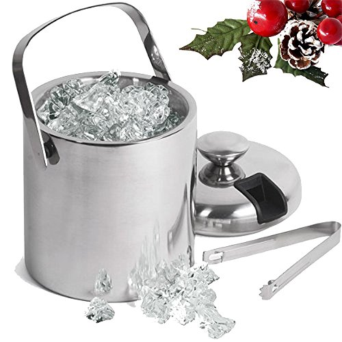 Small Ice Bucket with Tongs- Best Double Wall Insulated Stainless