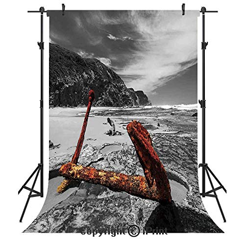 Shipwreck Photography Backdrops,Weathered Photo of Aged and Decayed Flaking Anchor on The Beach by The Hills Marine,Birthday Party Seamless Photo Studio Booth Background Banner 3x5ft,Orange