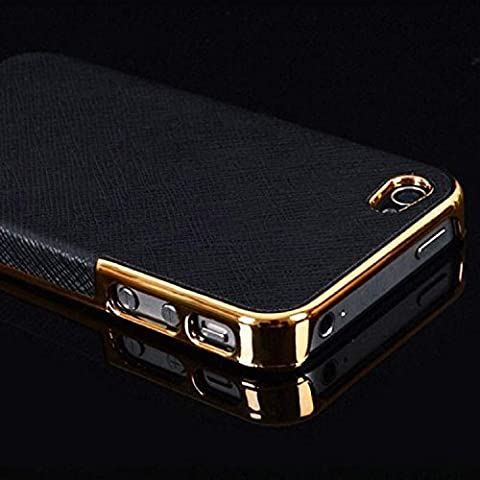 ALLUCKY Deluxe Luxury Chrome Hard Case For iPhone 5 5S Simple Back Electroplating process + Microfiber Leather Special Design (Gold Frame (5s Cases Special)