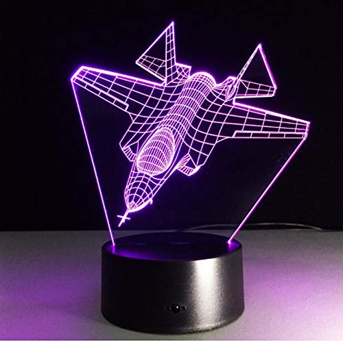CJRSAM 3D Aircraft Night Light Led Rc Toy Boy Gift Air War Plane Fighter Table Lamp Military Jet Plane Visual Bedroom Decor
