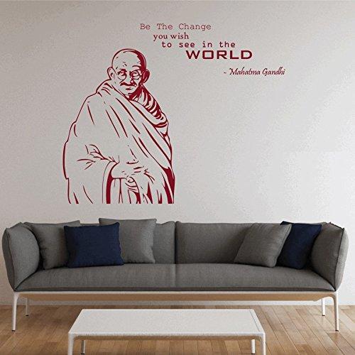 dreamkraft PortaitのGandhi ji壁装飾アートステッカービニールデカールホームデコレーションリビングルーム&キッズ寝室用(36 x 29インチ) B07CCKT2XY