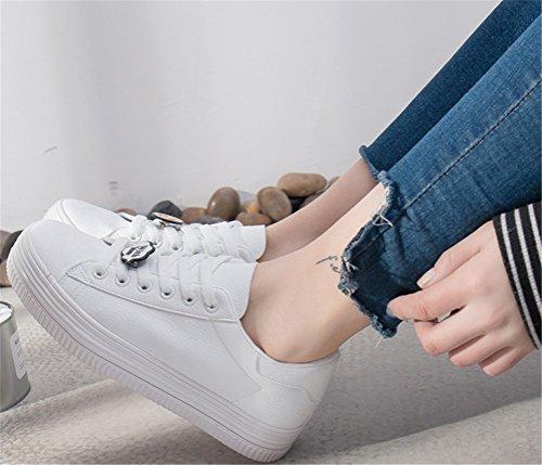 Satuki Mode Sneakers För Kvinnor, Pleather Snörning Tillfälliga Platta Komfortsportskor Vit