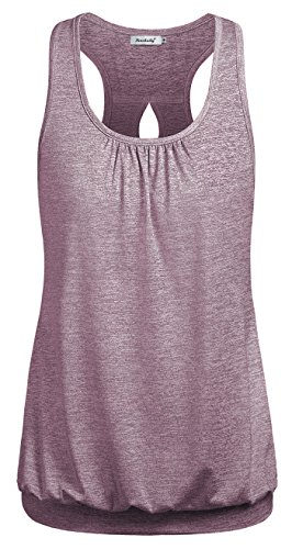 Ninedily Casual Summer Camis Women,Gathered Bottom Shirt for Gym Athleisure Wear Feminine Tank Top Funny Women Sport Morning Walking Shirt Regular Juniors Razorback Pilates Yoga Tops RosyBrown M