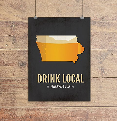 Iowa Beer Print Map - IA Drink Local Craft Beer Sign, Wall Art, Décor, Canvas, Boyfriend Gift, Husband Gift, Beer Gift, Beer Art, Minimal, Custom, Personalized, Davenport, Des Moines Poster