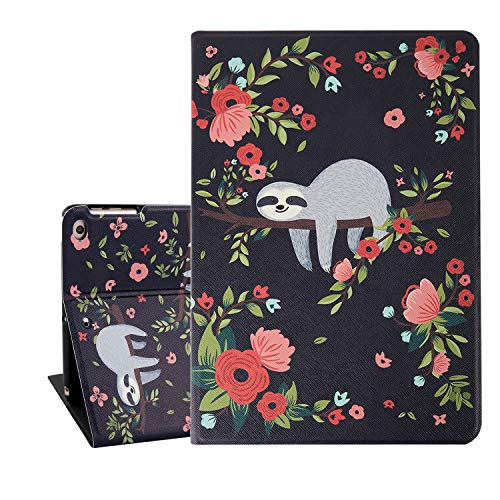 Cute iPad Case 9.7, Sloth iPad Air 9.7 Case, Pink Red Wild Flower Folio Stand Tablet Case for iPad 9.7 Inch with Auto Sleep/Wake Function, Protective Smart Case Cover for iPad 6th/5th Gen 2018 2017