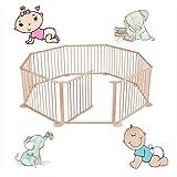 InfantSafe Baby Playpen 8-Panel Wooden - Large Play Pen / Room Divider for Babies & Toddlers / International Delivery