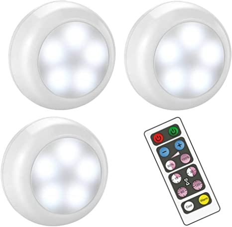 Bls Wireless Dimmable Led Puck Lights With Remote Control Aa 1030 Operated With 3 Aa Batteries Stick On Led Under Cabinet Lighting With Timer Cool White And Warm White 3 Pack