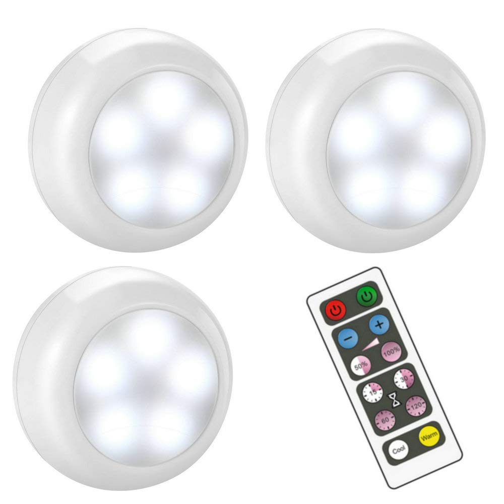 BLS Wireless Dimmable LED Puck Lights with Remote Control, AA-1030 Operated with 3 AA Batteries, Stick on LED Under Cabinet Lighting with Timer, Cool White and Warm White 3 Pack