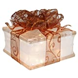 Illuminated Glass Block Holiday Decoration with 4'' White Border - Sheer Copper Ribbon